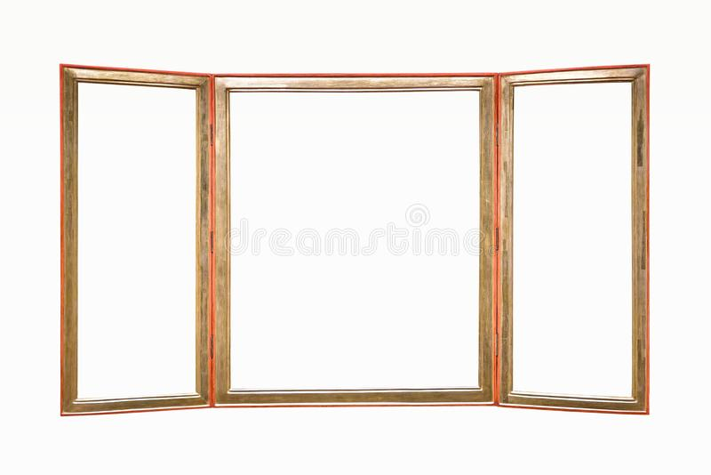 Triple wooden picture frame royalty free stock photography