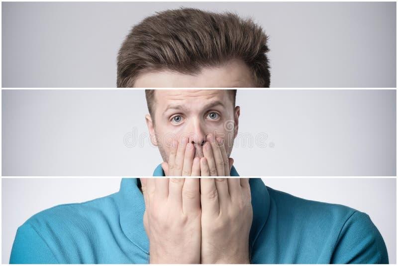 Triplet de jeune bouche de couvert effrayée ou soumise à une contrainte manbeing avec des mains photographie stock libre de droits