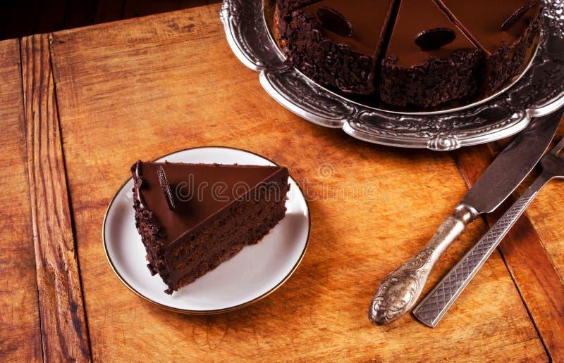 Triplez le gâteau de chocolat photos libres de droits