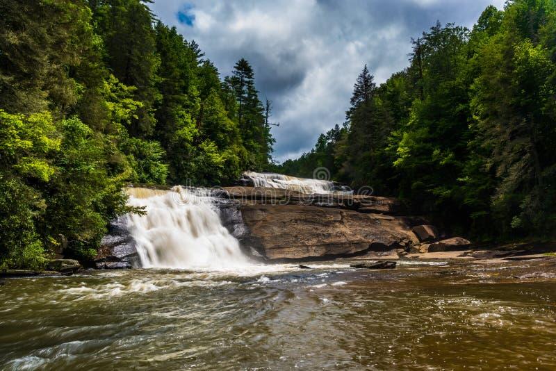 Triplicar-se cai, na floresta do estado de Du Pont, North Carolina foto de stock