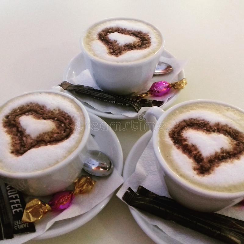 triplicar-se do cappuccino fotos de stock royalty free
