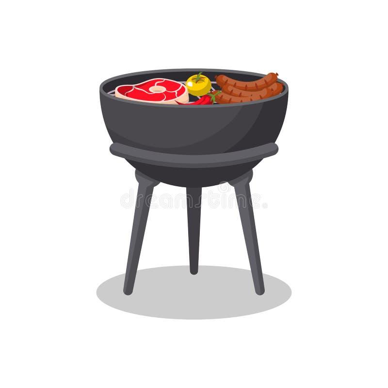 Tripod grilla grill z jedzenie odosobnioną ikoną ilustracja wektor