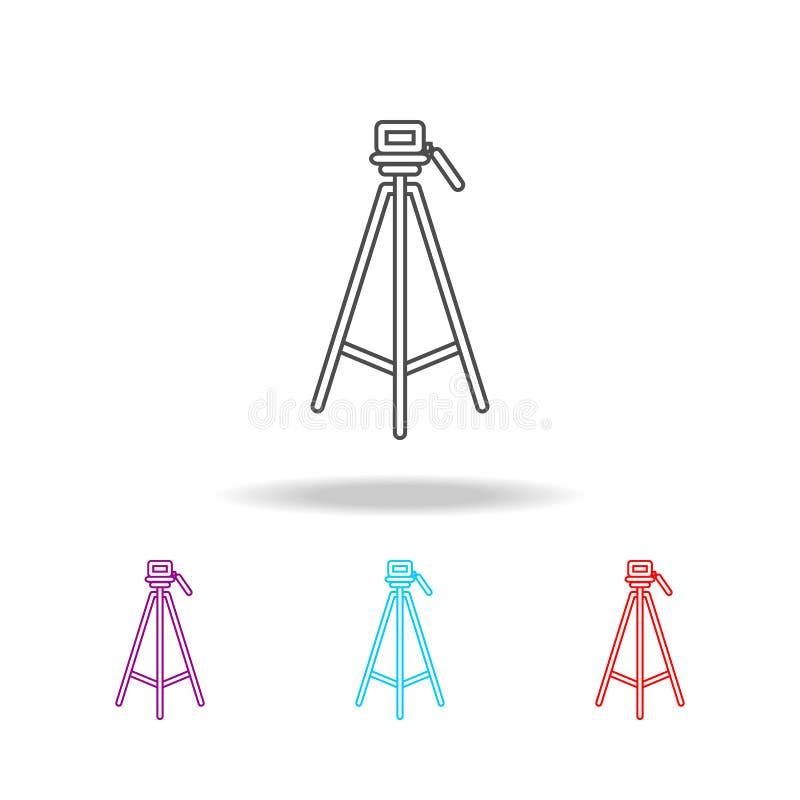 tripod ikony Elementy fotografia w wielo- barwionych ikonach Premii ilości graficznego projekta ikona Prosta ikona dla stron inte ilustracja wektor