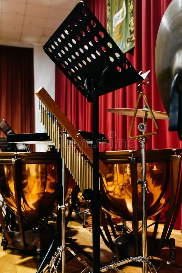 Tripods to hold percussion musical instruments royalty free stock images