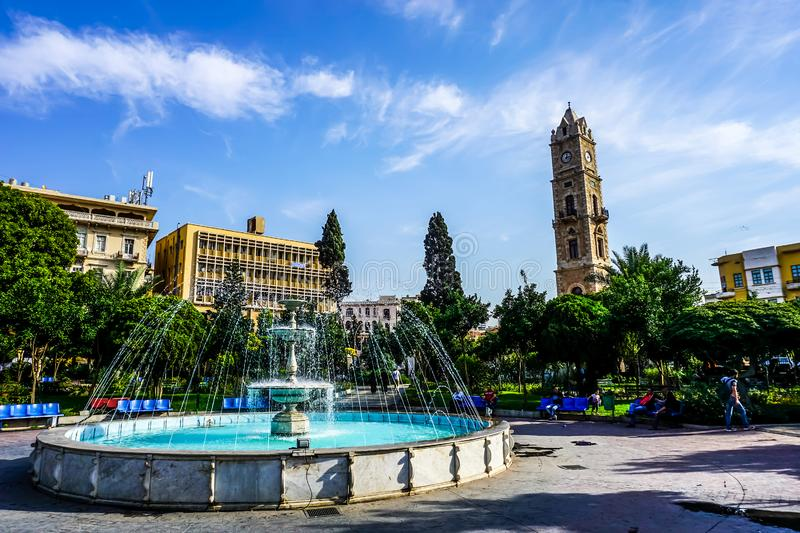 Tripoli Clock Tower 01. Tripoli Sultan Abdul Hamid Clock Tower Fountain Park Awesome Picturesque View royalty free stock photo