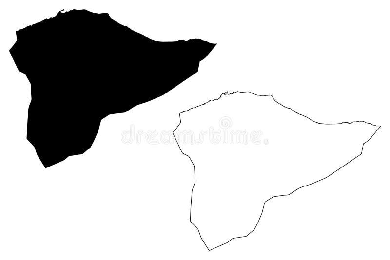 Tripoli District Districts of Libya, State of Libya, Tripolitania map vector illustration, scribble sketch Tripoli map.  royalty free illustration