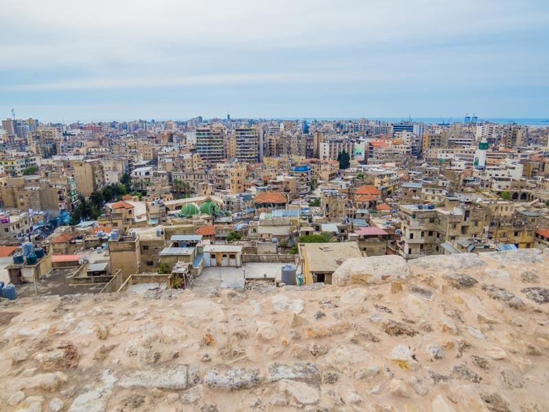 Tripoli, Lebanon. City aerial view from the Tripoli Castle stock photo