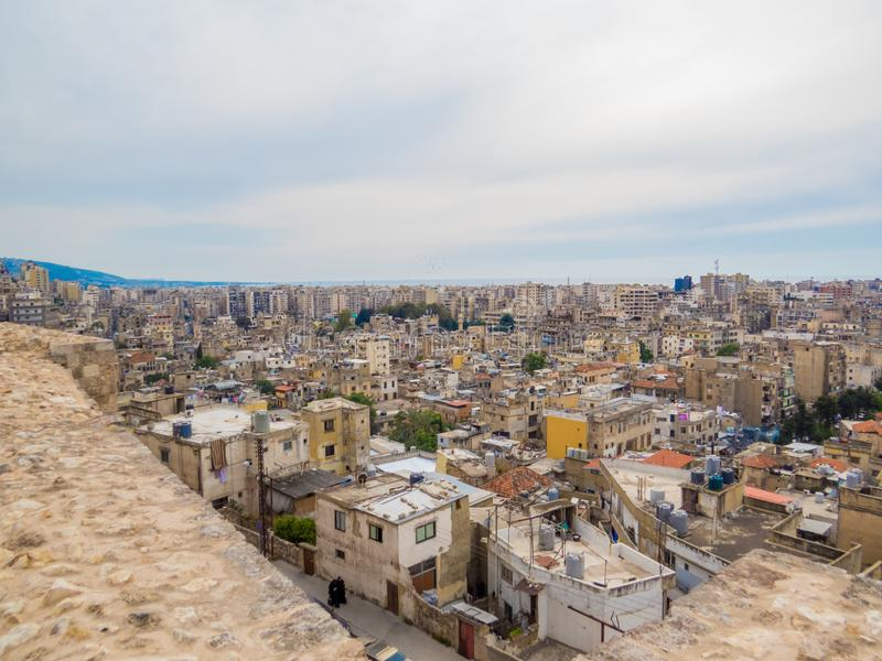 Tripoli, Lebanon. City aerial view from the Tripoli Castle stock photos