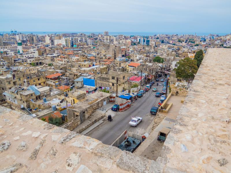 Tripoli, Lebanon. City aerial view from the Tripoli Castle royalty free stock photos
