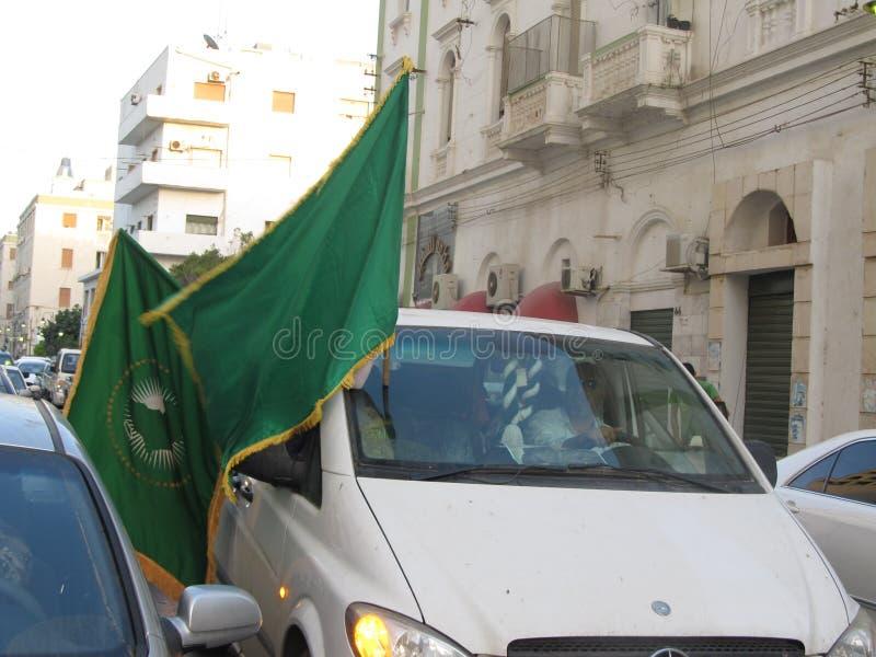 Tripoli, Libya. Jul 01, 2011: Libyan demonstrators rallying in support of Colonel Muammar al-Gaddafi near Tripoli's Green Square royalty free stock image