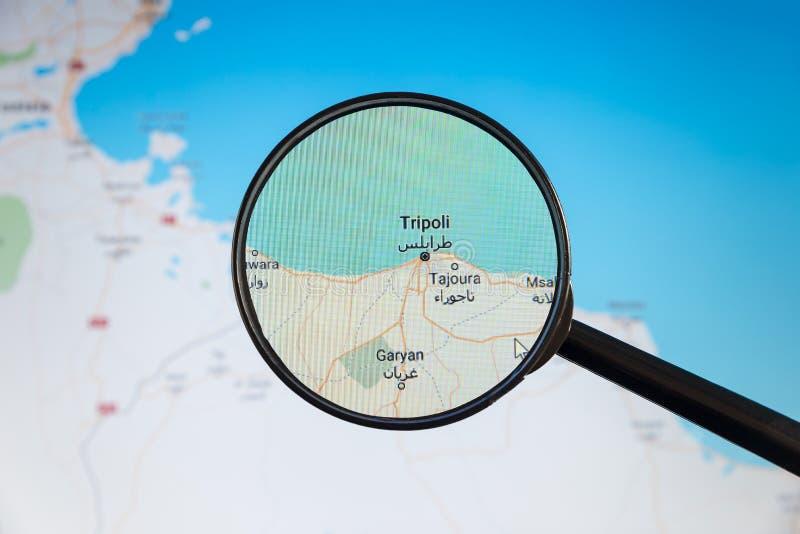 Tripoli, Libya. Political map. City visualization illustrative concept on display screen through magnifying glass stock photos