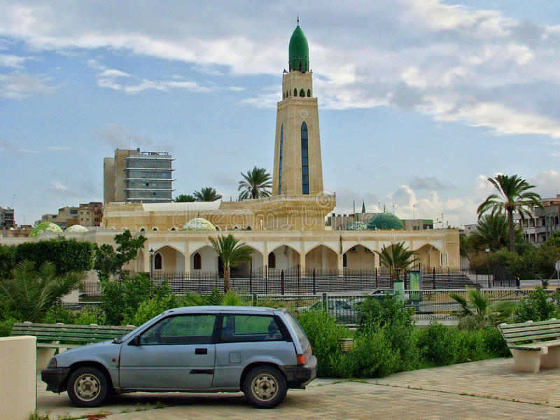 Tripoli mosque. Tripoli capital of Libya the view of the streets in downtown and a mosque royalty free stock photography