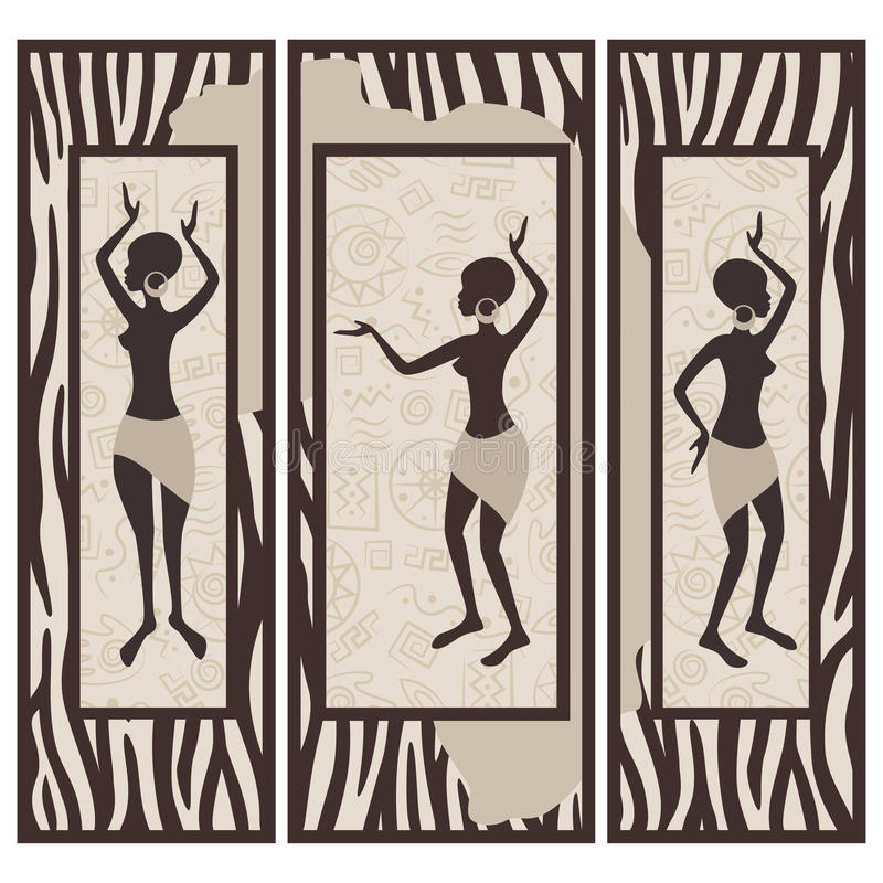 Triptych. Африканская конструкция иллюстрация штока