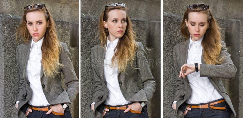 Triptych da mulher nova dos retratos perto da parede imagem de stock royalty free