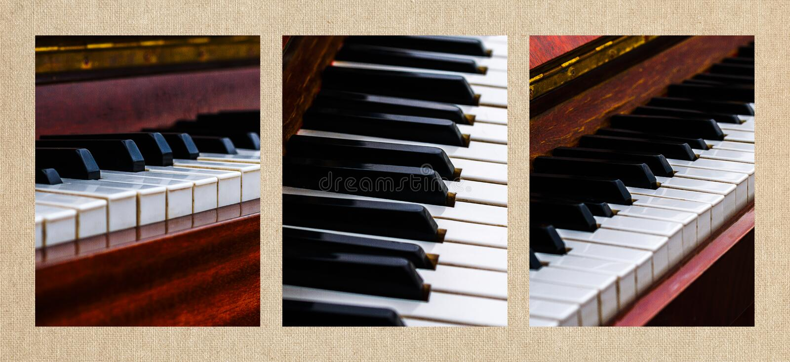 Triptych Don't Shoot The Pianist. Triptych of three vertical format photographs of an old, weathered and abandoned pianos with uneven and well worn keyboard royalty free stock photography