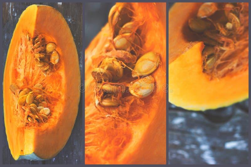 Triptych - raw pumpkin slice on wooden background; kitchen decor stock photos