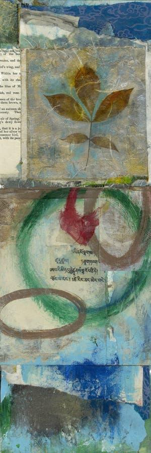 Triptych Sanskrit da folha ilustração stock