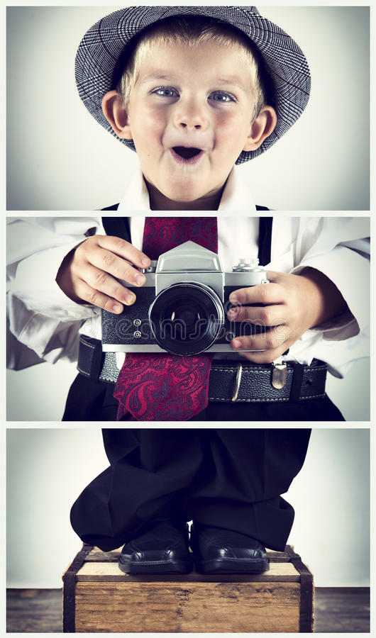 Triptych of young boy playing with an old camera royalty free stock photography
