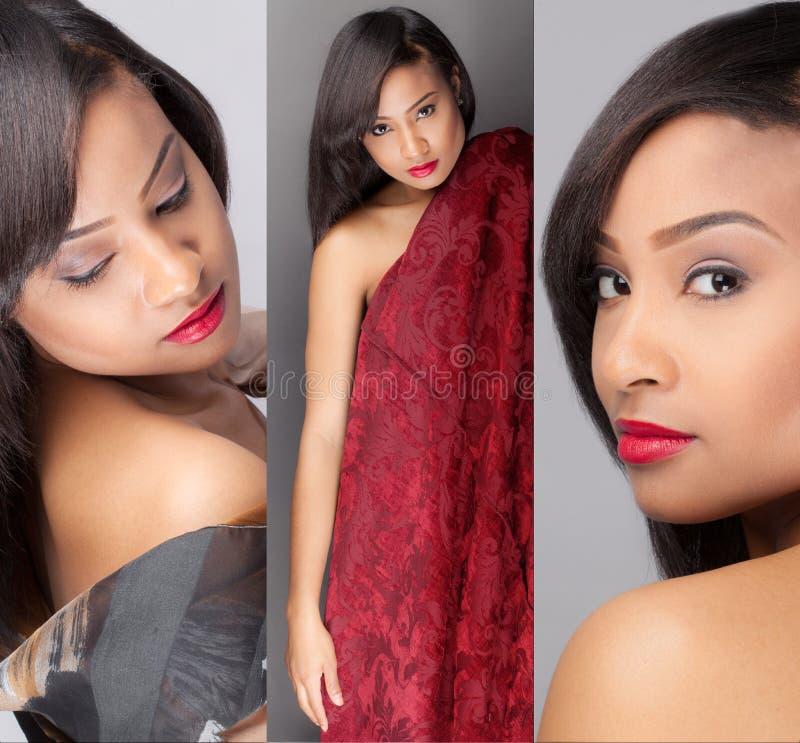 Triptychon der herrlichen gemischtrassigen Frau lizenzfreies stockfoto