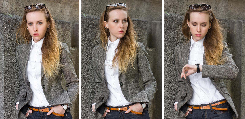 Triptyque de jeune femme de verticales près du mur image libre de droits
