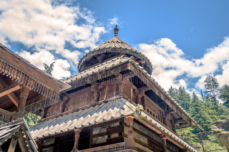 Tripura Sundari temple in Naggar. Old building of Tripura Sundari (Durga) temple in Naggar Himachal Pradesh India stock photos