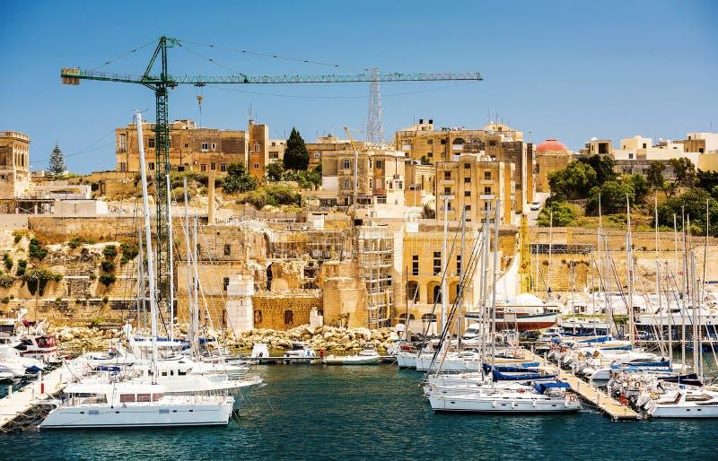 Triqjachthaven in Kalkara van Malta stock fotografie