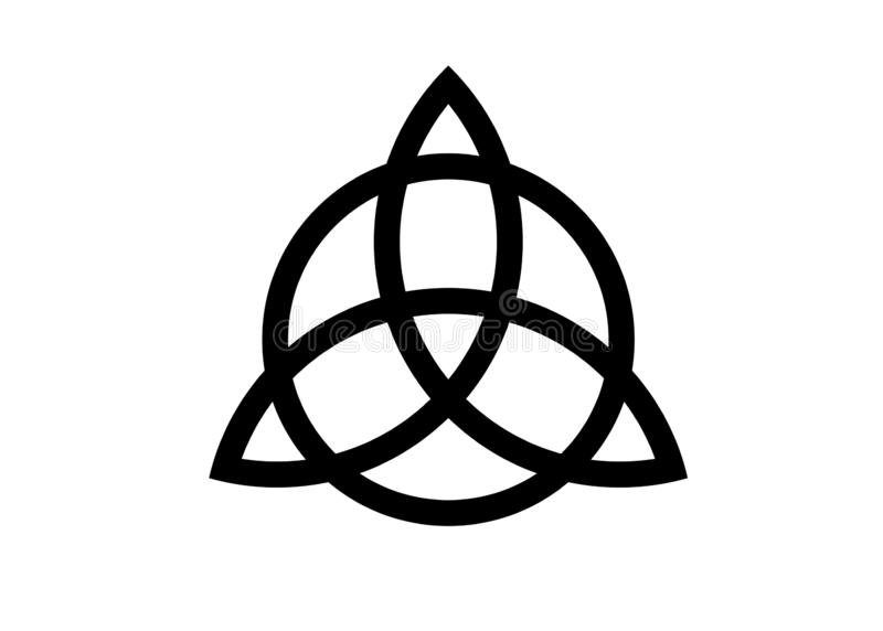 Triquetra,三位一体结,保护的Wiccan标志 在白色背景隔绝的传染媒介黑色凯尔特三位一体结集合 向量例证