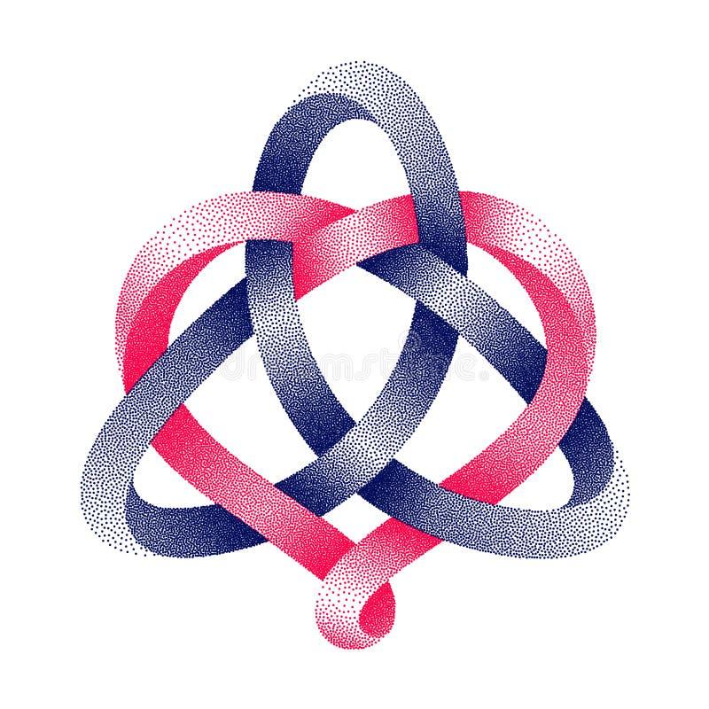 Triquetra celta kępka z kierowym symbolem stippled mobius pasek Harmoniczny miłość znak również zwrócić corel ilustracji wektora royalty ilustracja