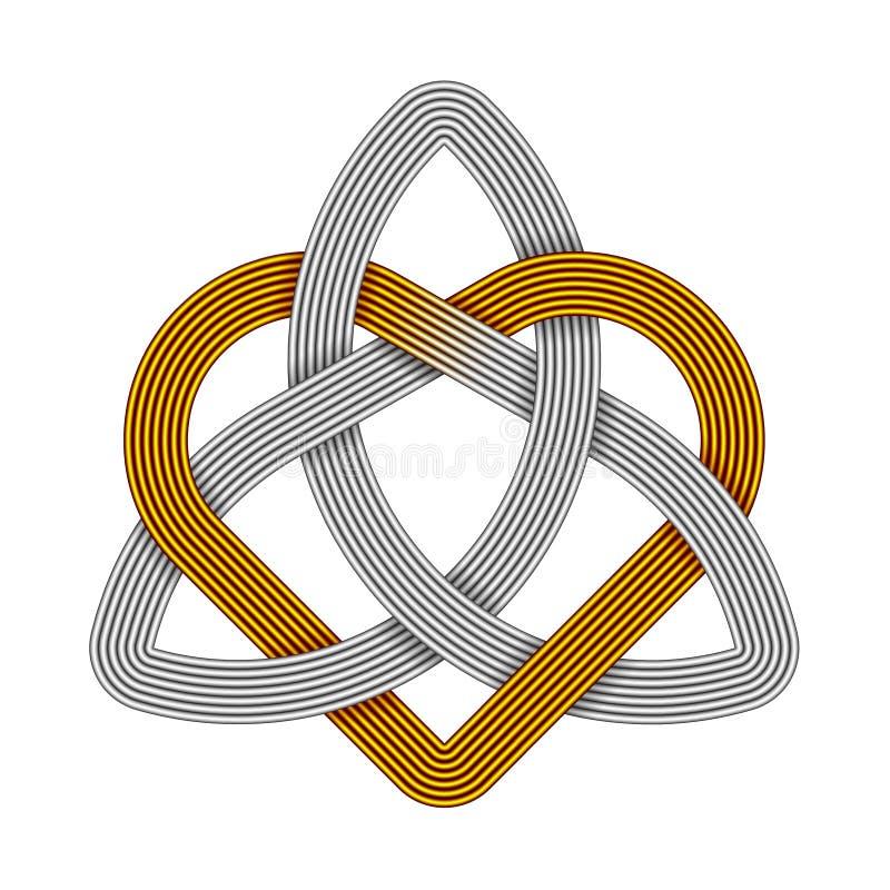 Triquetra con cuore fatto dei nastri metallici Simbolo di amore della trinità illustrazione vettoriale