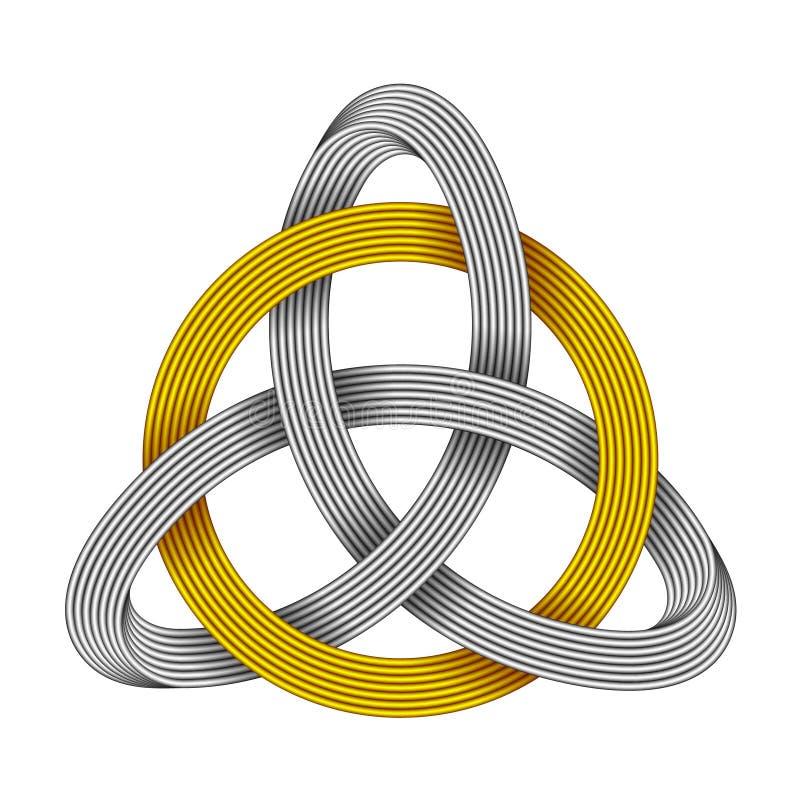 Triquetra con el círculo hecho de tiras entrecruzadas Símbolo céltico de la trinidad Ilustración del vector stock de ilustración