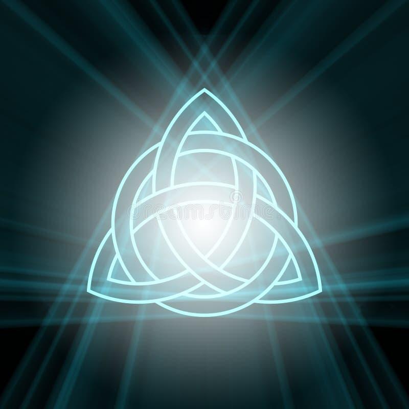 Triquetra-Dreiheitsknoten mit hellem Aufflackern lizenzfreie abbildung
