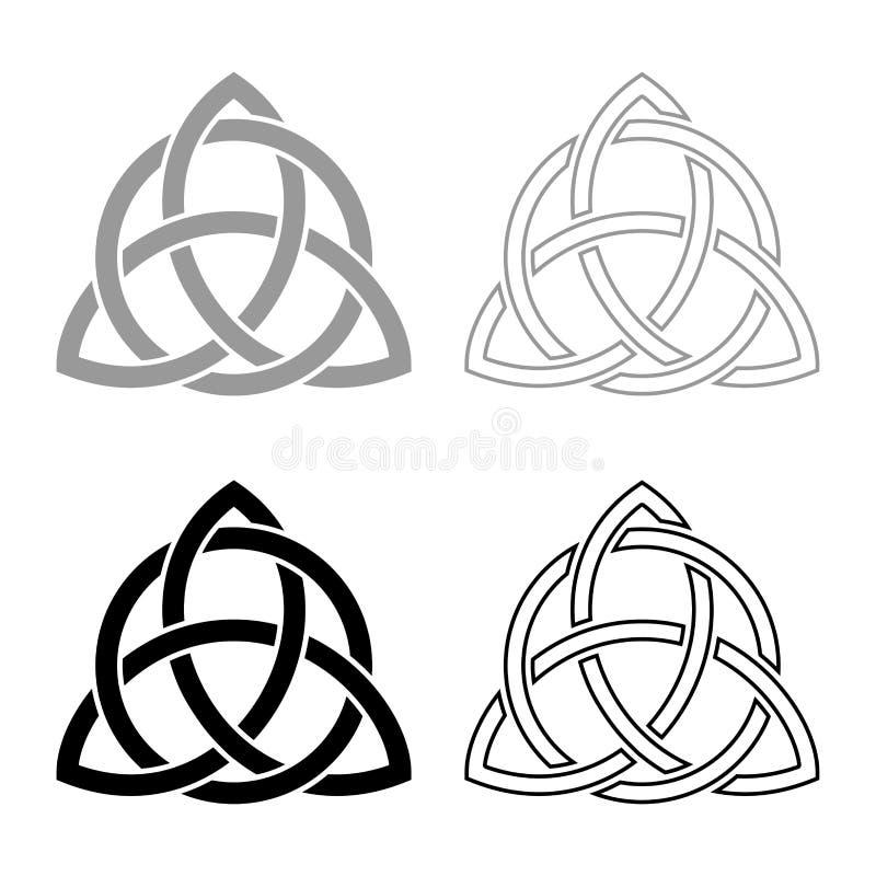 Triquetra en icono del nudo de la trinidad de la forma del nudo de Trikvetr del círculo fijó imagen simple de color del ejemplo d stock de ilustración