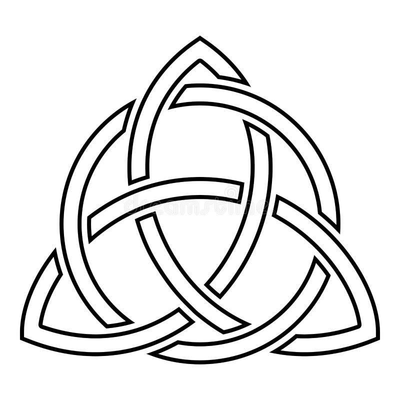 Triquetra en imagen plana del estilo del ejemplo del vector del color del negro del icono del nudo de la trinidad de la forma del ilustración del vector