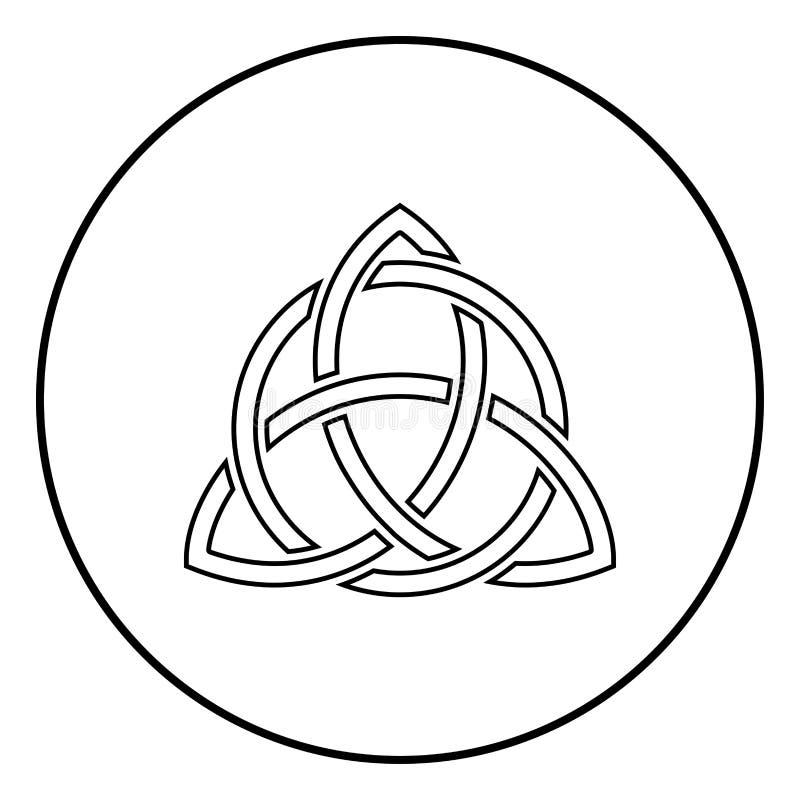 Triquetra en vector del color del negro del esquema del icono del nudo de la trinidad de la forma del nudo de Trikvetr del círcul ilustración del vector