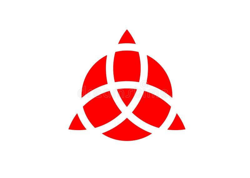 Triquetra geometryczny logo, Czerwona trójcy kępka, Wiccan symbol dla ochrony Wektorowa Celtycka trinity kępka odizolowywająca na ilustracja wektor