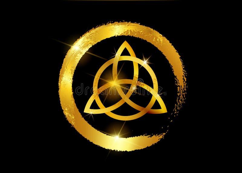 Triquetra, Gouden Drievuldigheidsknoop, Wiccan-symbool voor bescherming Vector de knoopreeks van de bladgoud Keltische die drievu vector illustratie