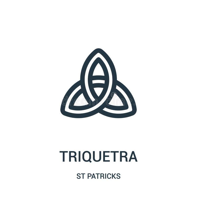 triquetra ikony wektor od st patricks inkasowych Cienka kreskowa triquetra konturu ikony wektoru ilustracja Liniowy symbol dla uż ilustracja wektor