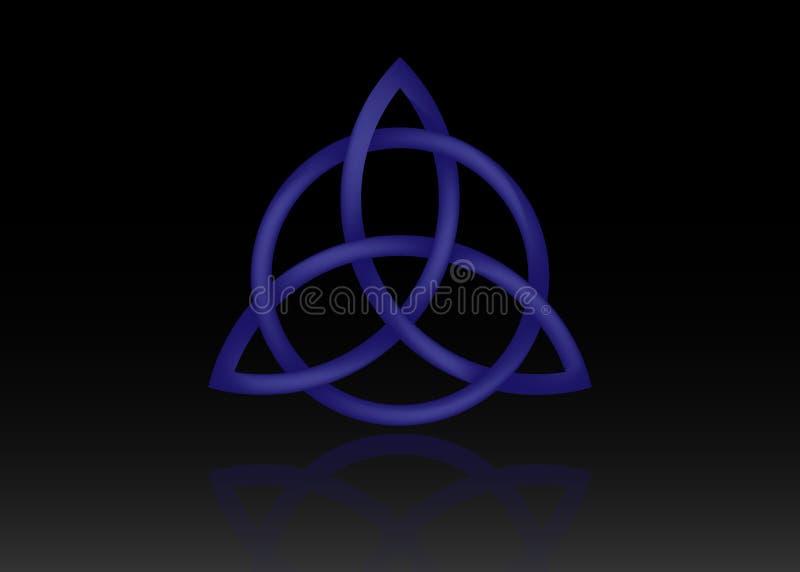 Triquetra logo, trójcy kępka, Wiccan symbol dla ochrony 3D trinity Wektorowa błękitna Celtycka kępka ustawia odosobnionego na cza ilustracja wektor