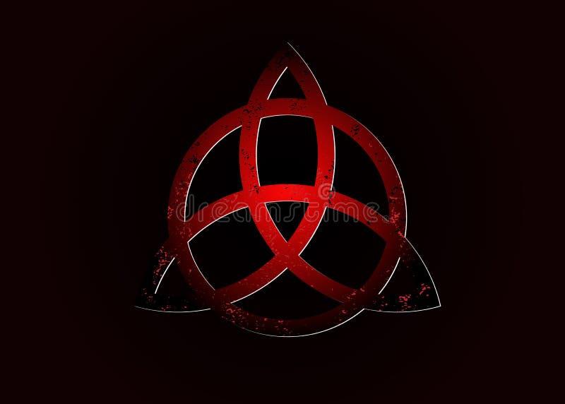 Triquetra logo, tr?jcy k?pka, Wiccan symbol dla ochrony 3D Wektorowy zmrok - czerwona Celtycka trinity kępka ustawia odosobnioneg royalty ilustracja