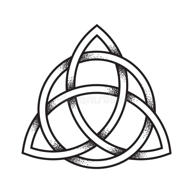 Triquetra lub trójcy kępka Ręka rysująca kropki praca antyczna ilustracja wektor