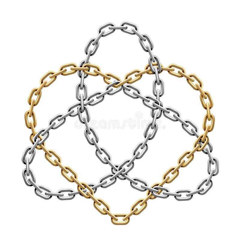 Triquetra med hjärta som göras av genomskurna kedjor Treenighetförälskelsesymbol också vektor för coreldrawillustration vektor illustrationer