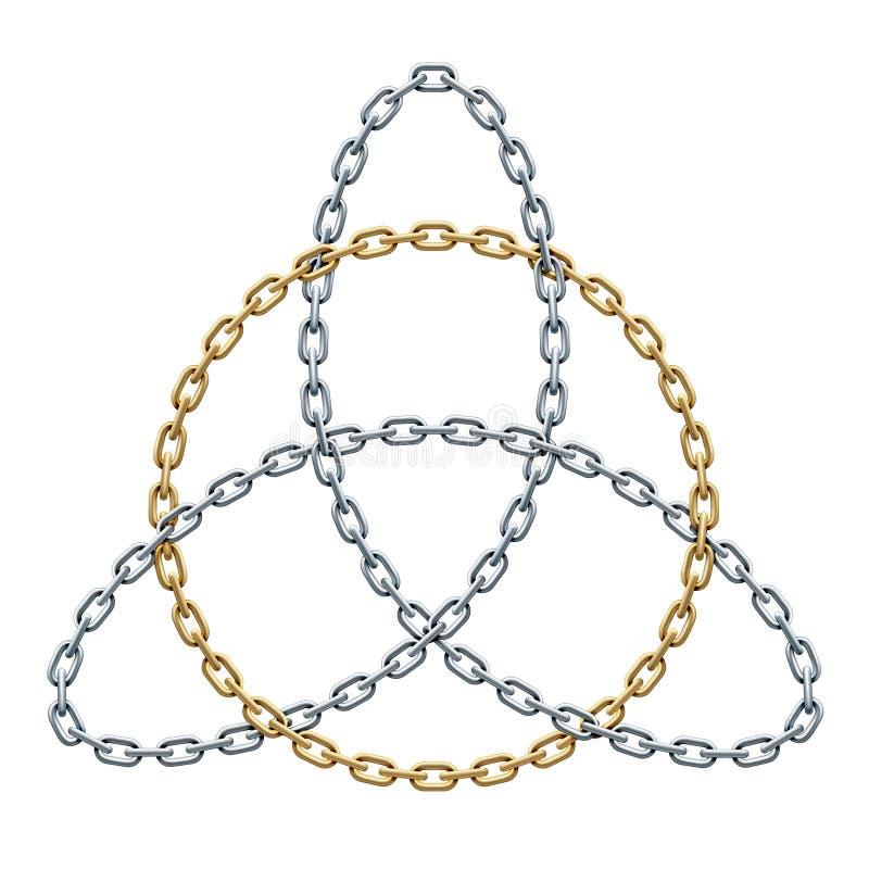 Triquetra met cirkel van verweven gouden en zilveren kettingen wordt gemaakt die Keltisch drievuldigheidssymbool Vector illustrat stock illustratie
