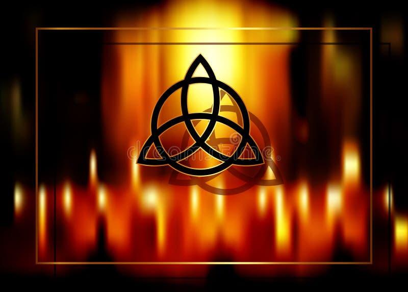 Triquetra, n? da trindade, s?mbolo de Wiccan para a prote??o Fundo borrado do fogo de queimar velas m?gicas Fundo m?stico do veto ilustração royalty free