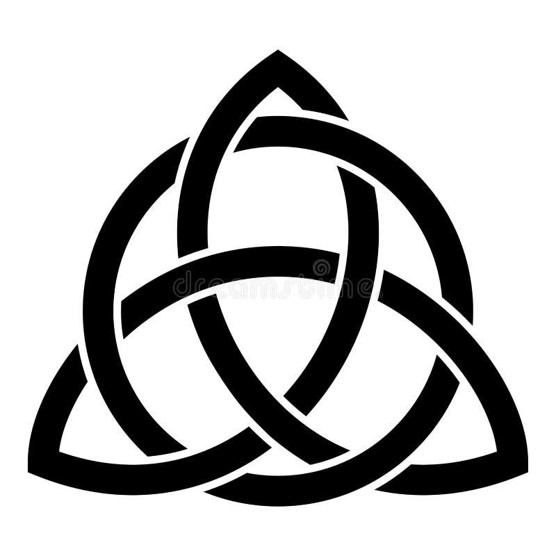 Triquetra na imagem lisa do estilo da ilustração do vetor da cor do preto do ícone do nó da trindade da forma do nó de Trikvetr d ilustração do vetor