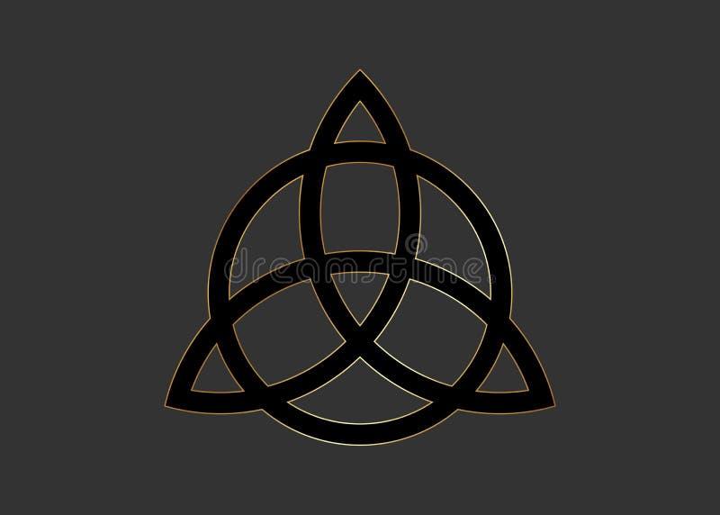 Triquetra, noeud de trinit?, symbole de Wiccan pour la protection Noeud celtique noir de trinit? de vecteur d?cor? en or d'isolem illustration de vecteur