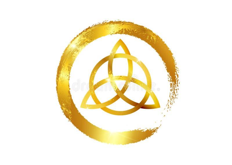 Triquetra, nudo de la trinidad del oro, símbolo de Wiccan para la protección Nudo céltico de la trinidad de la hoja de oro del ilustración del vector