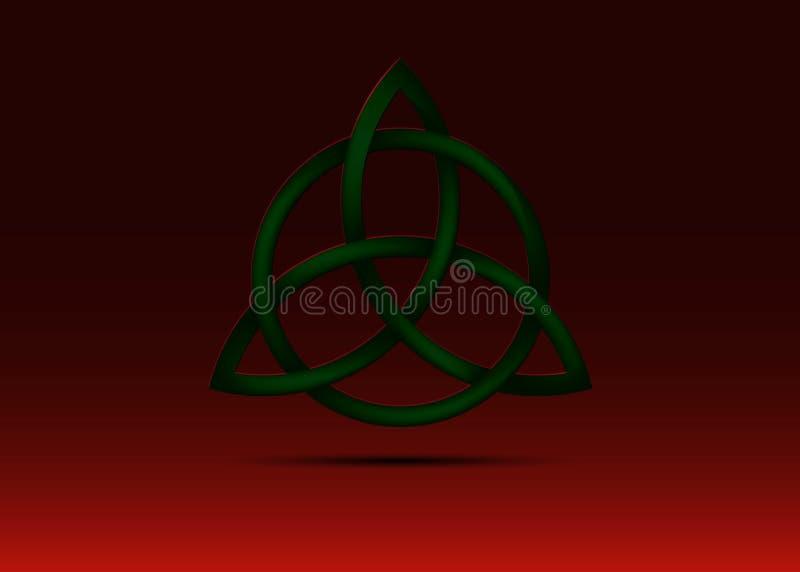 Triquetra, trójcy kępka, Wiccan symbol dla ochrony Wektorowa Czarna Celtycka trinity kępka ustawia odosobnionego na czerwonym tle royalty ilustracja