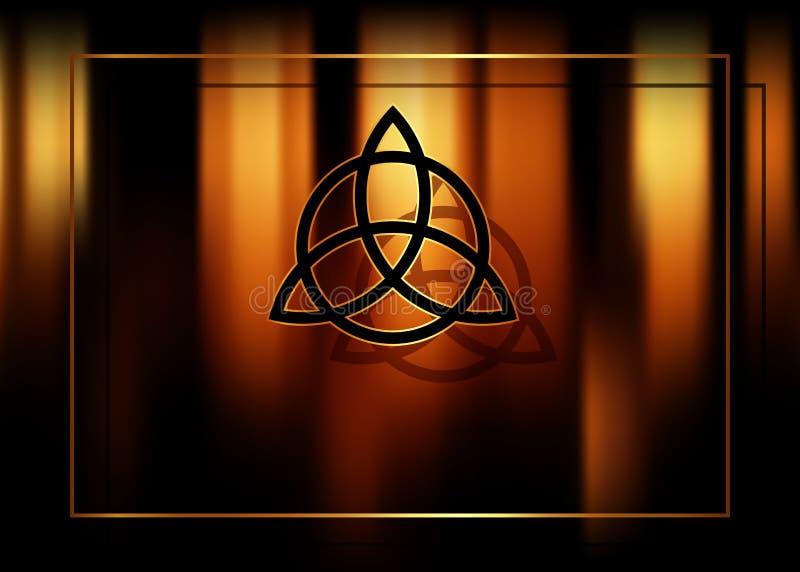 Triquetra, tr?jcy k?pka, Wiccan symbol dla ochrony Zamazany po?arniczy t?o p?on?ce magiczne ?wieczki Wektorowy tajemniczy t?o royalty ilustracja