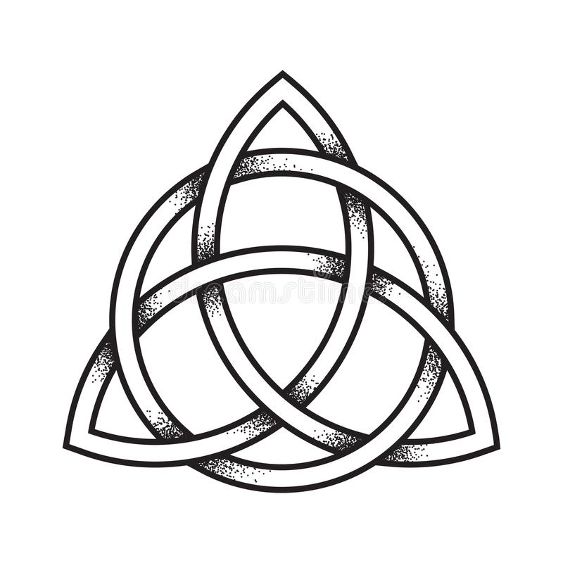 triquetra or trinity knot hand drawn dot work ancient