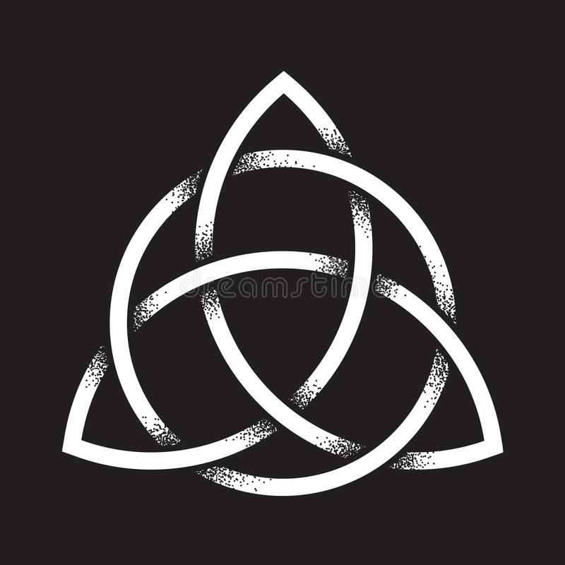 Triquetra Or Trinity Knot Hand Drawn Dot Work Ancient Pagan Symbol